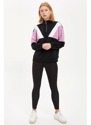 Defacto –Fit Renk Bloklu Fermuarlı Sweatshirt Siyah